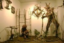 wood nd wire sculpture installation