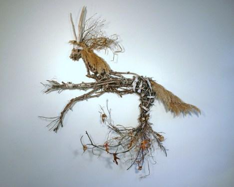 Tessa D'Agostino_Aquatic Woodland Series_ Divonian Creature_Found Materials Assemblage_55inWx58inHx12inD_$1,300.00